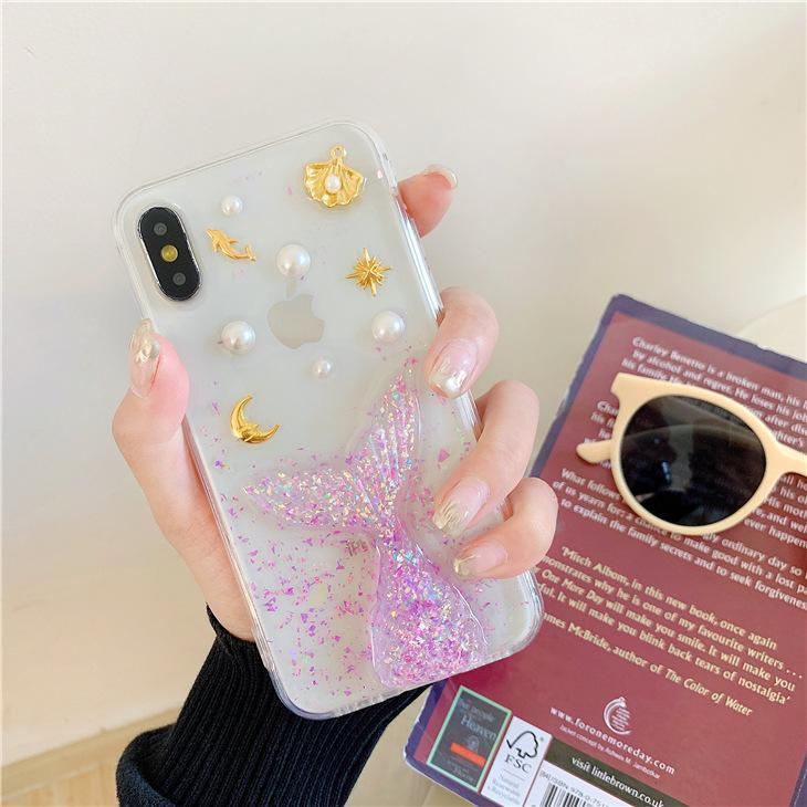 itGirl Shop GLITTER MERMAID TAIL TRANSPARENT IPHONE COVER CASE