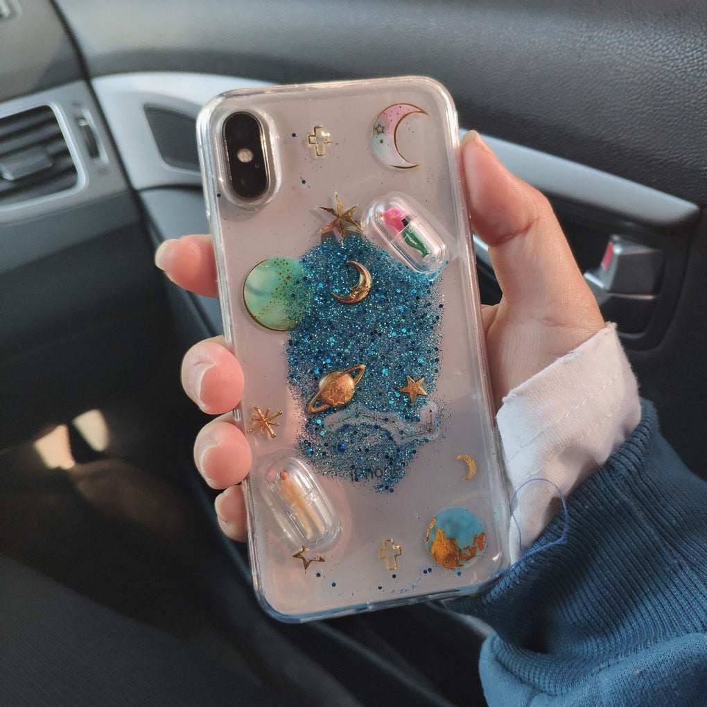 GLITTER PLANETS PILLS TRANSPARENT IPHONE COVER CASE