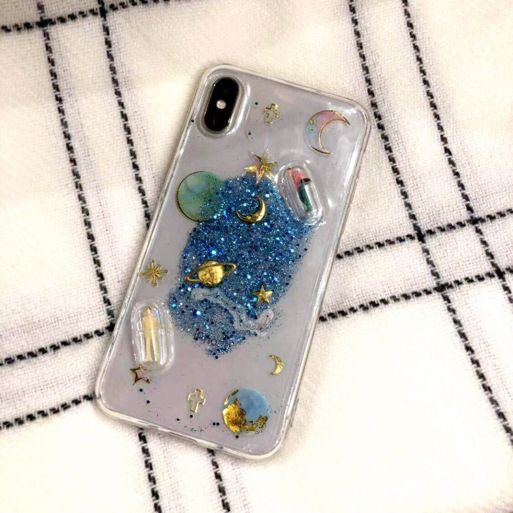 itGirl Shop GLITTER PLANETS PILLS TRANSPARENT IPHONE COVER CASE