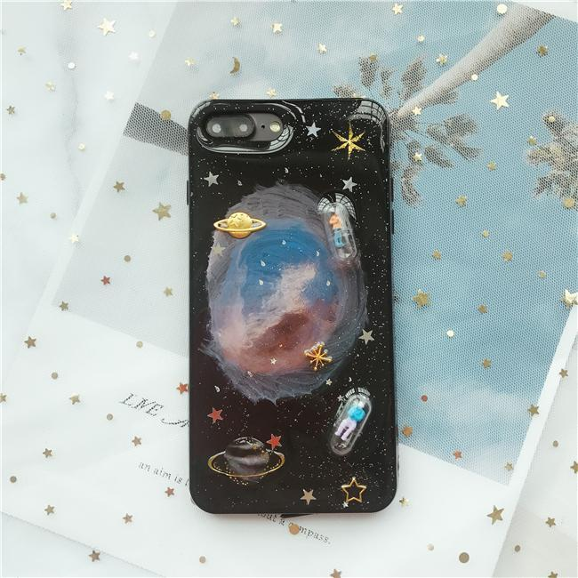itGirl Shop GLITTER SPACE PILLS BLACK WHITE IPHONE COVER CASE
