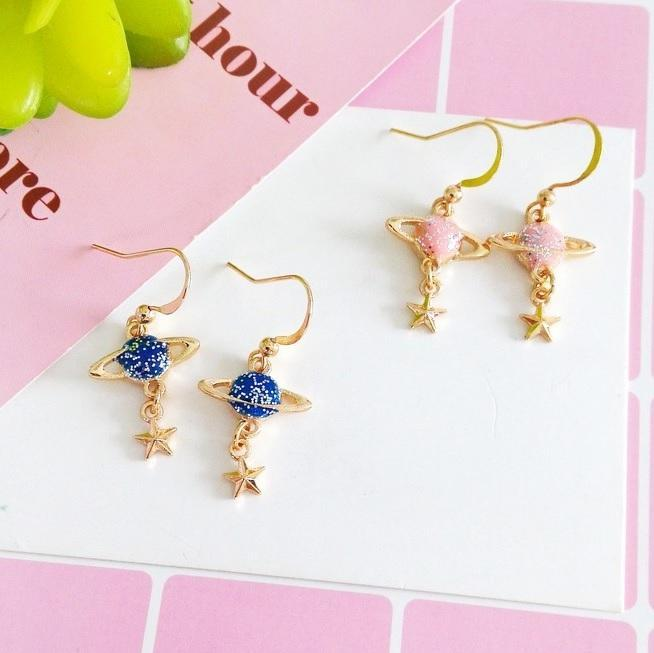 itGirl Shop GLITTER STARURN PLANETS METALLIC KAWAII EARRINGS