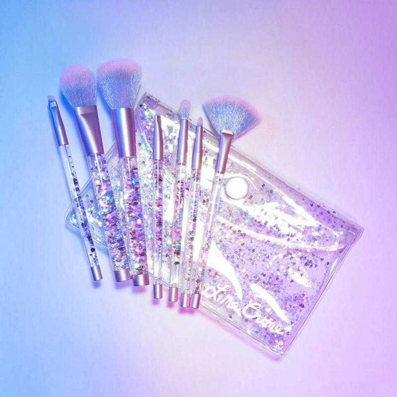 itGirl Shop GLITTER TRANSPARENT PLASTIC MAKEUP BRUSHES TOOLS Aesthetic Apparel, Tumblr Clothes, Soft Grunge, Pastel goth, Harajuku fashion. Korean and Japan Style looks
