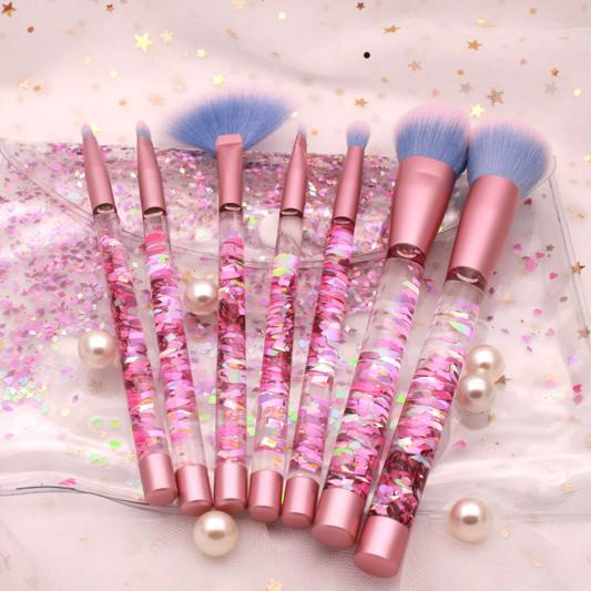 itGirl Shop GLITTER TRANSPARENT PLASTIC MAKEUP BRUSHES TOOLS