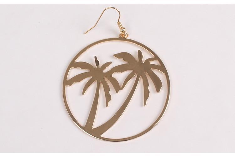itGirl Shop GOLDEN ROUND METALLIC CHILL PALM TREES EARRING