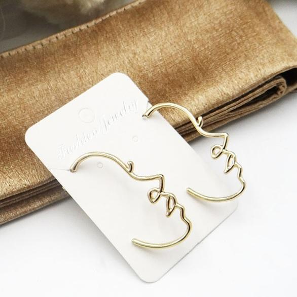 itGirl Shop GOLDEN SILVER EYES FACES METALL EARRINGS