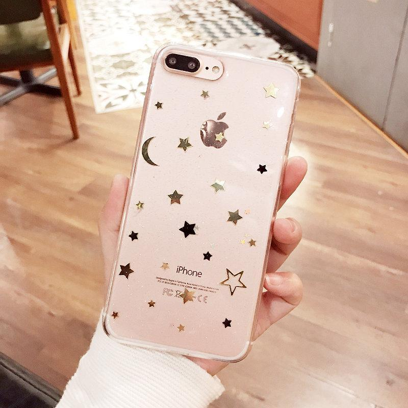 itGirl Shop GOLDEN STARS NIGHT SKY TRANSPARENT SILICONE IPHONE COVER CASE
