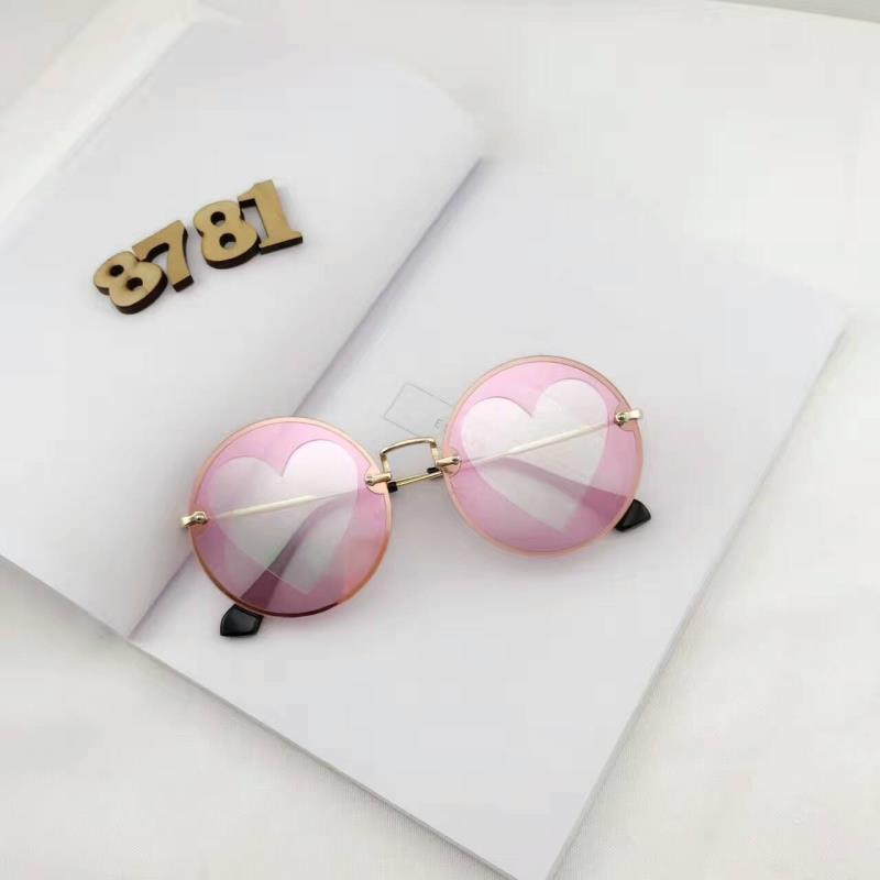 itGirl Shop GRADIENT COLORFUL HEARTS METALLIC FRAME ROUND GLASSES