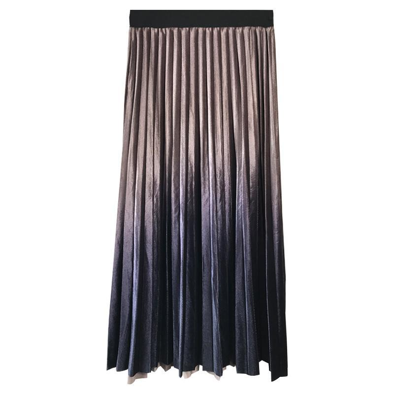 itGirl Shop GRADIENT METALLIC BLUE LONG HIGH WAIST SKIRT
