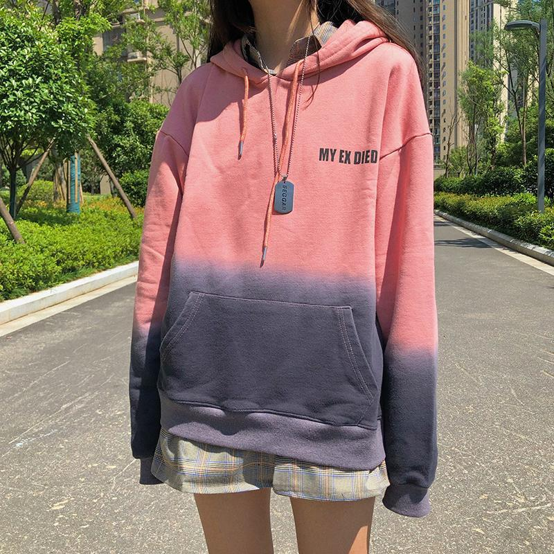 itGirl Shop GRADIENT PASTEL COLORS LETTER EMBROIDERY OVERSIZED HOODIE