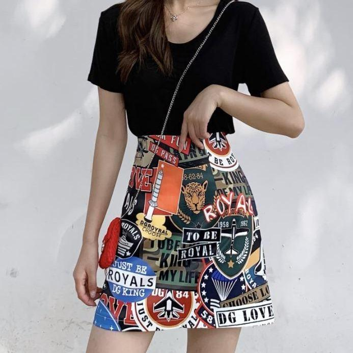 itGirl Shop GRAFFITI CARTOON PRINTED ULZZANG MINI SKIRT