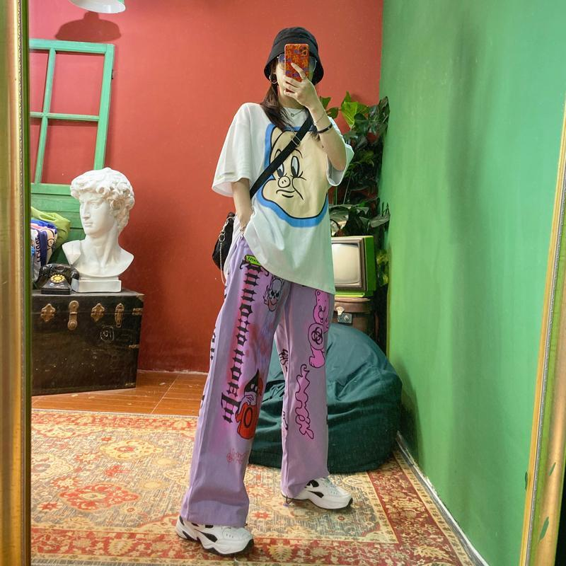 itGirl Shop GRAFFITI PRINTED STREET FASHION WIDE LEG PANTS