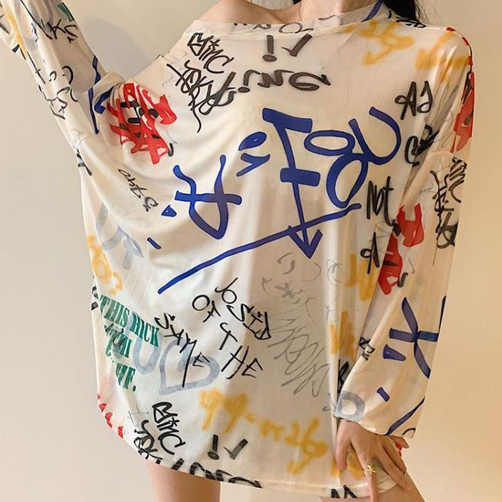 itGirl Shop GRAFFITI PRINTED TRANSPARENT OVERSIZED LONG SLEEVE T-SHIRT