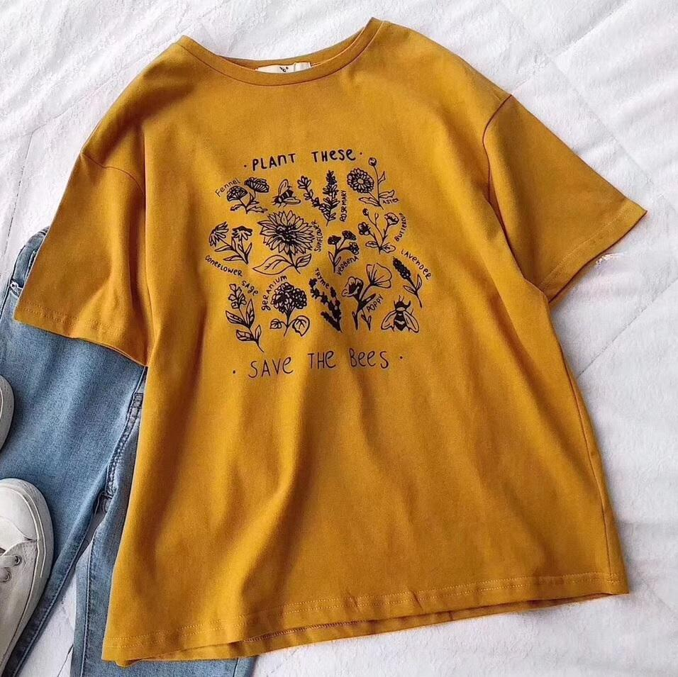 itGirl Shop GRAPHIC PLANTS ECO PRINT WHITE YELLOW BASIC T-SHIRT