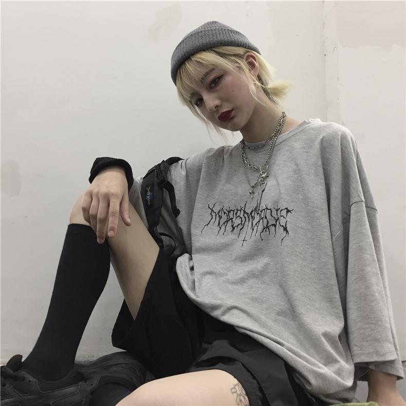 itGirl Shop GRAY AND BLACK GRUNGE AESTHETIC PRINTED OVERSIZED T-SHIRT