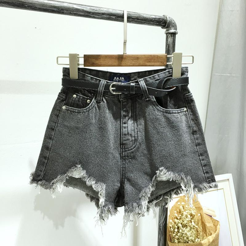 itGirl Shop GRAY AND BLACK RIPPED OFF EDGE DENIM SHORTS
