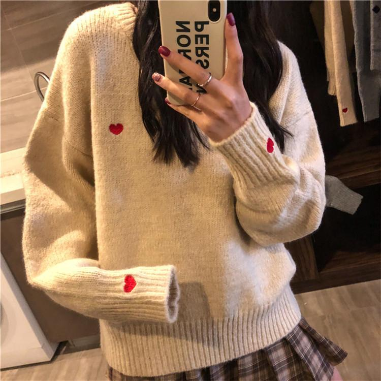itGirl Shop GRAY APRICOT UNISEX CUTE HEART EMBROIDERIES SWEATER