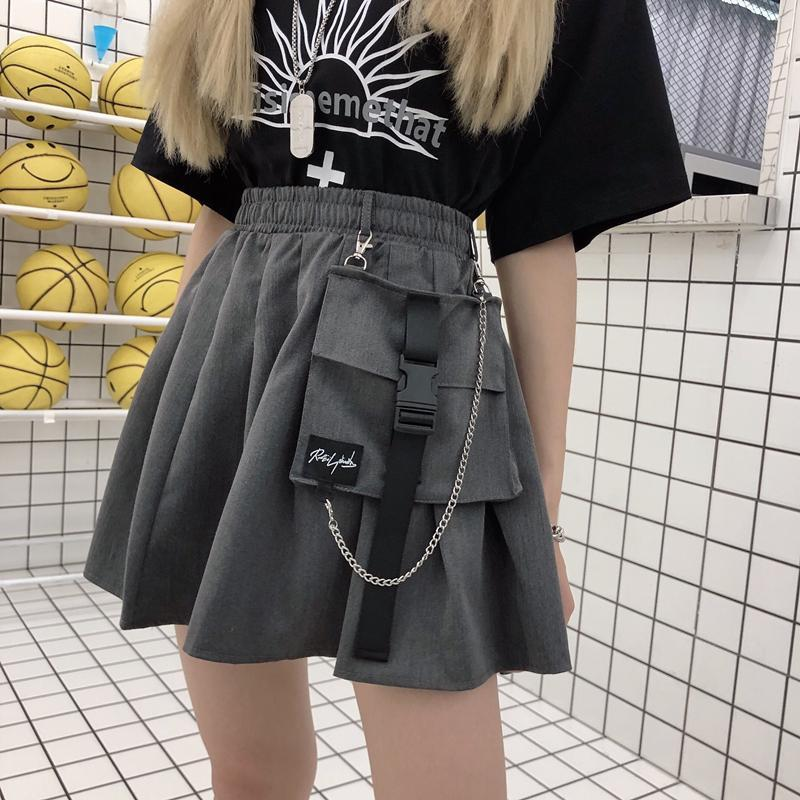 itGirl Shop GRAY BLACK ELASTIC WAIST BIG POCKET MINI SKIRT
