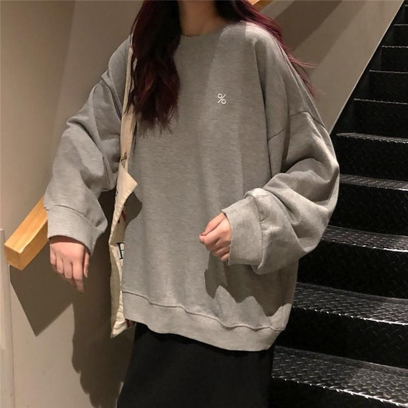 itGirl Shop GRAY BLACK PERCENT EMBROIDERY OVERSIZED THIN SWEATSHIRT