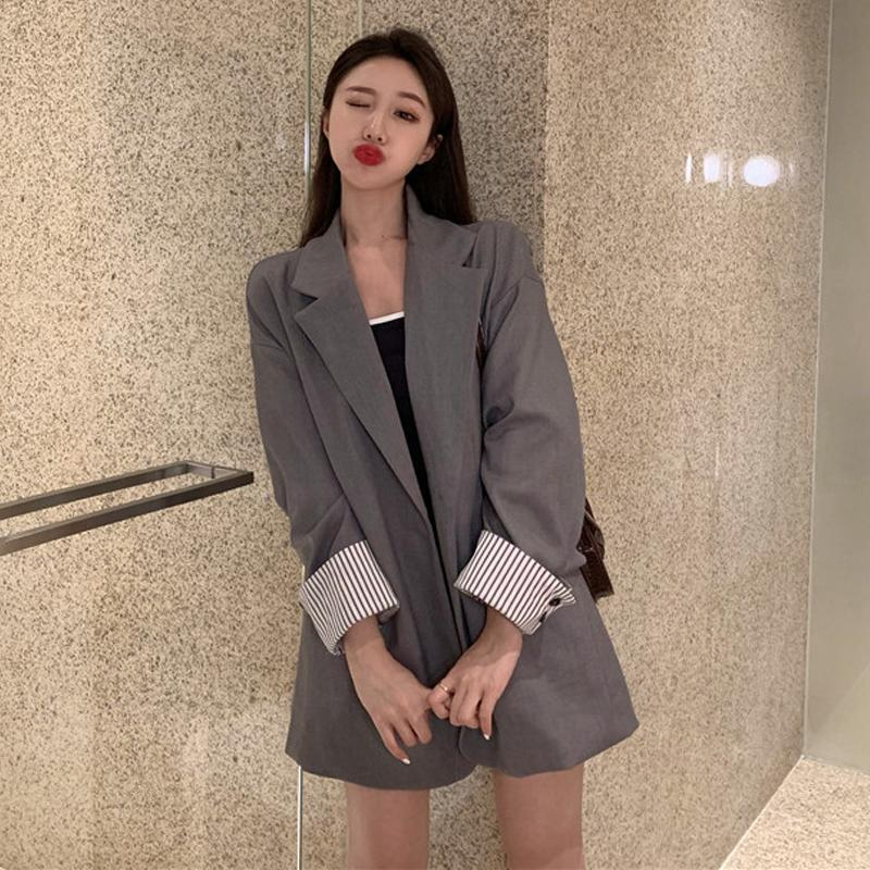 itGirl Shop GRAY BLACK RETRO OVERSIZED LONG JACKET