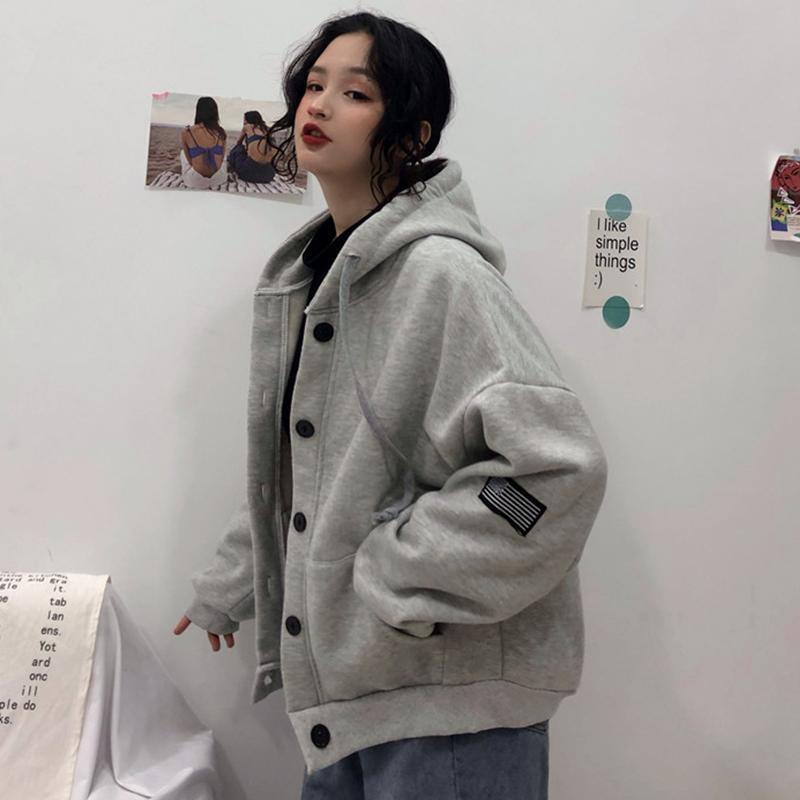 itGirl Shop GRAY EMBROIDERIES LOOSE CARDIGAN HOODED SWEATSHIRT