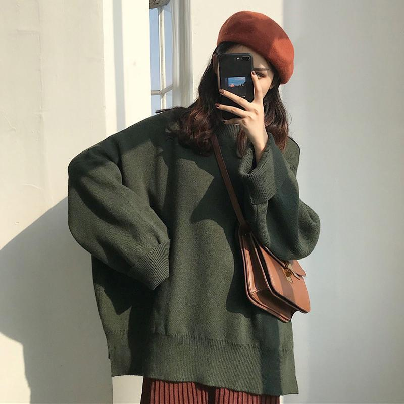 itGirl Shop GRAY GREEN BLACK OVERSIZED BASIC KNIT SWEATER