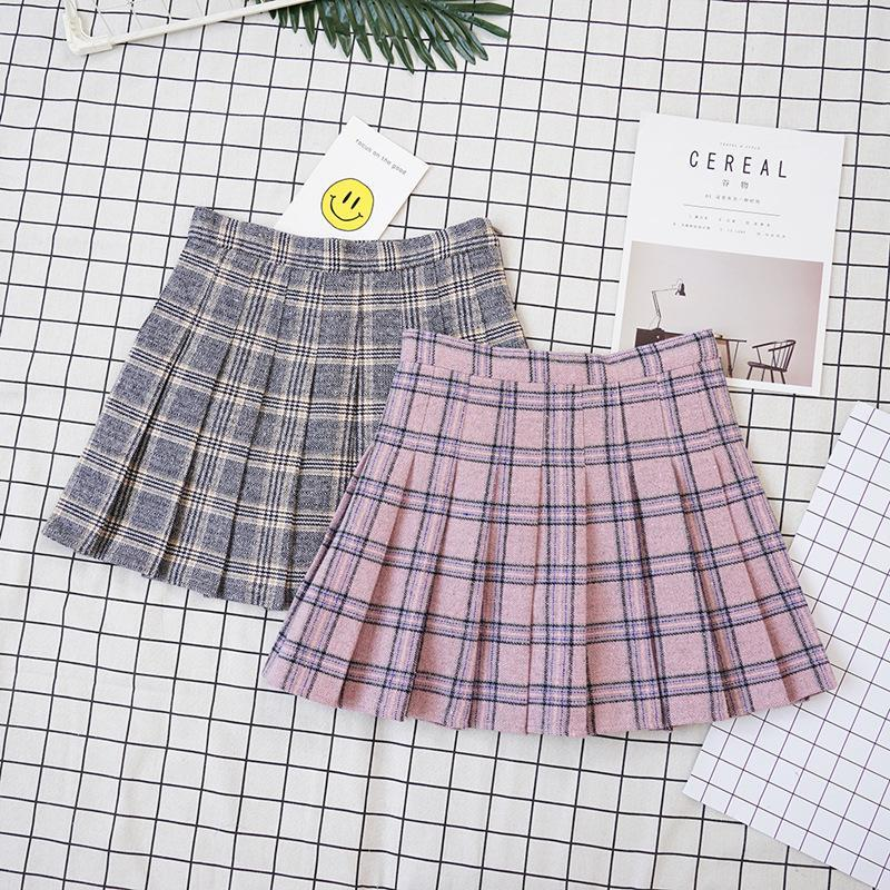 itGirl Shop GRAY PINK SCHOOL STYLE GRAND PLAID PLEATED AESTHETIC SKIRTS