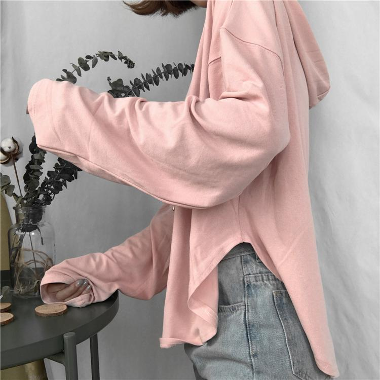 itGirl Shop GRAY PINK WHITE LIGHT SUMMER SHORT COTTON LONG SLEEVE HOODIE