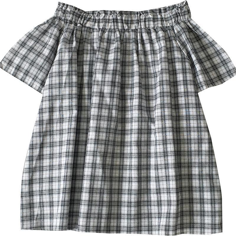 itGirl Shop GRAY PLAID FLARED DOWN SHOULDERS TOP