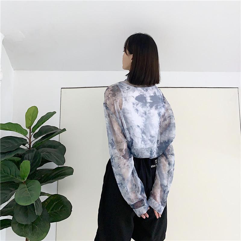 itGirl Shop GRAY PRINT ULZZANG TRANSPARENT OVERSIZED SHIRT