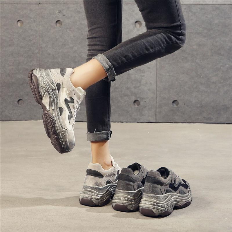 itGirl Shop GRAY VELVET THICK PLATFORM UGLY SNEAKERS