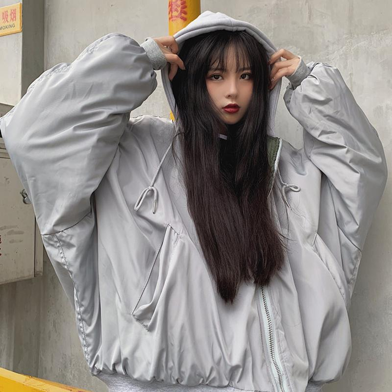 itGirl Shop GRAY WINDBREAKER OVERSIZED HOODED JACKET