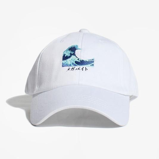 itGirl Shop GREAT WAVE EMBROIDERY CAP Aesthetic Apparel, Tumblr Clothes, Soft Grunge, Pastel goth, Harajuku fashion. Korean and Japan Style looks