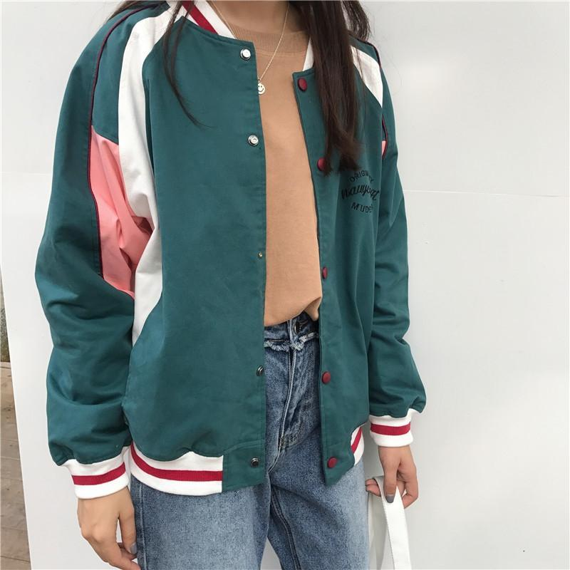 itGirl Shop GREEN GRAY LINES RETRO EMBROIDERY LETTERS BOMBER JACKET