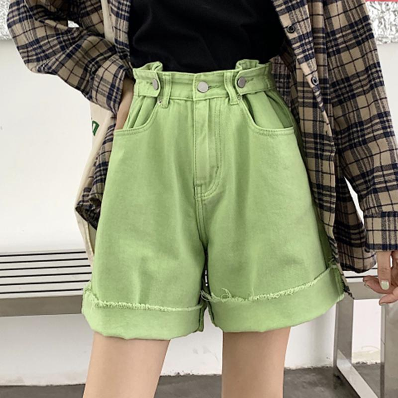 GREEN PINK HIGH WAIST DENIM LOOSE SHORTS