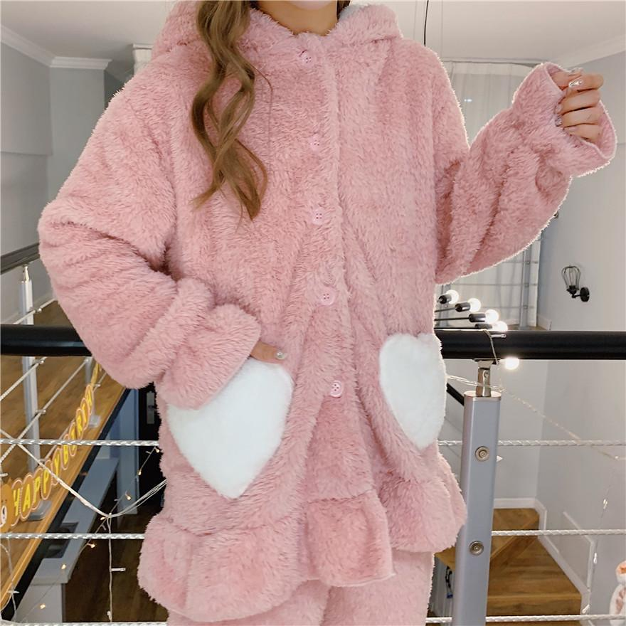 itGirl Shop GREEN PINK RABBIT EARS HOOD SOFT PLUSH LOOSE PAJAMA SET