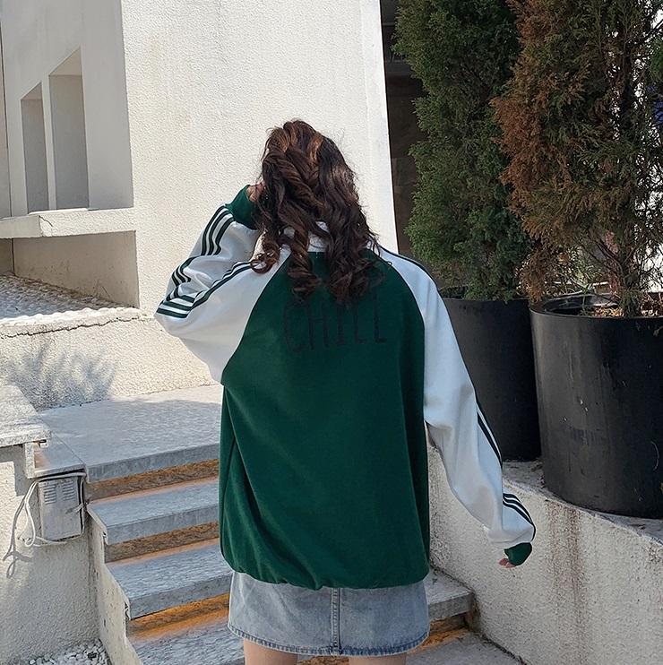 itGirl Shop GREEN WHITE CHILL BACK PRINT SPORTY WINDBREAKER JACKET
