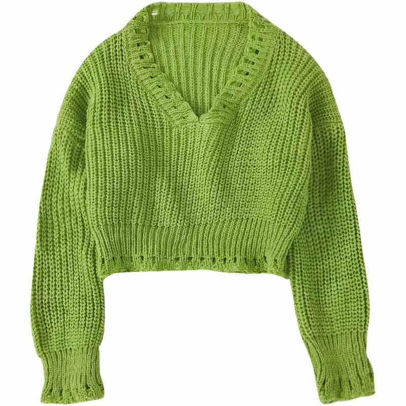 itGirl Shop GREEN WHITE VINTAGE AESTHETIC KNIT CROPPED LOOSE SWEATER