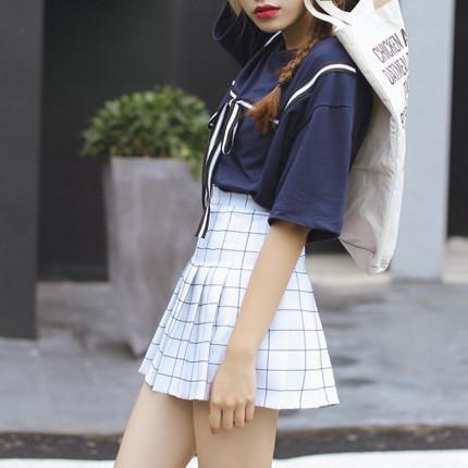 itGirl Shop GRID SCHOOL SHORT PLEATED SKIRT Aesthetic Apparel, Tumblr Clothes, Soft Grunge, Pastel goth, Harajuku fashion. Korean and Japan Style looks