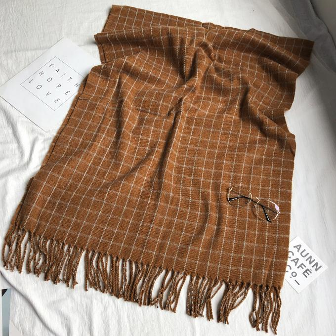 itGirl Shop GRID WOOL FLAT KNIT WARM AUTUMN WINTER SCARF