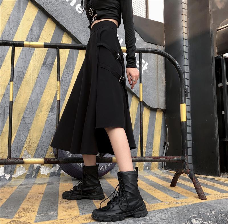 itGirl Shop GRUNGE AESTHETIC IRREGULAR LONG SKIRT WITH POCKETS