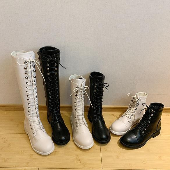 itGirl Shop GRUNGE AESTHETIC ZIPPER BLACK CREAMY WHITE BOOTS