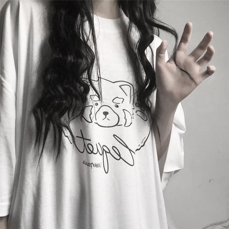 itGirl Shop GRUNGE BEAR CARTOON PRINT OVERSIZED T-SHIRT