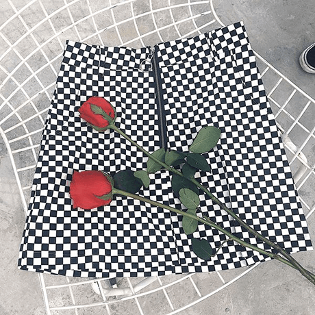 itGirl Shop GRUNGE BLACK WHITE CHECKERED GRID FRONT ZIPPER SKIRT Aesthetic Apparel, Tumblr Clothes, Soft Grunge, Pastel goth, Harajuku fashion. Korean and Japan Style looks