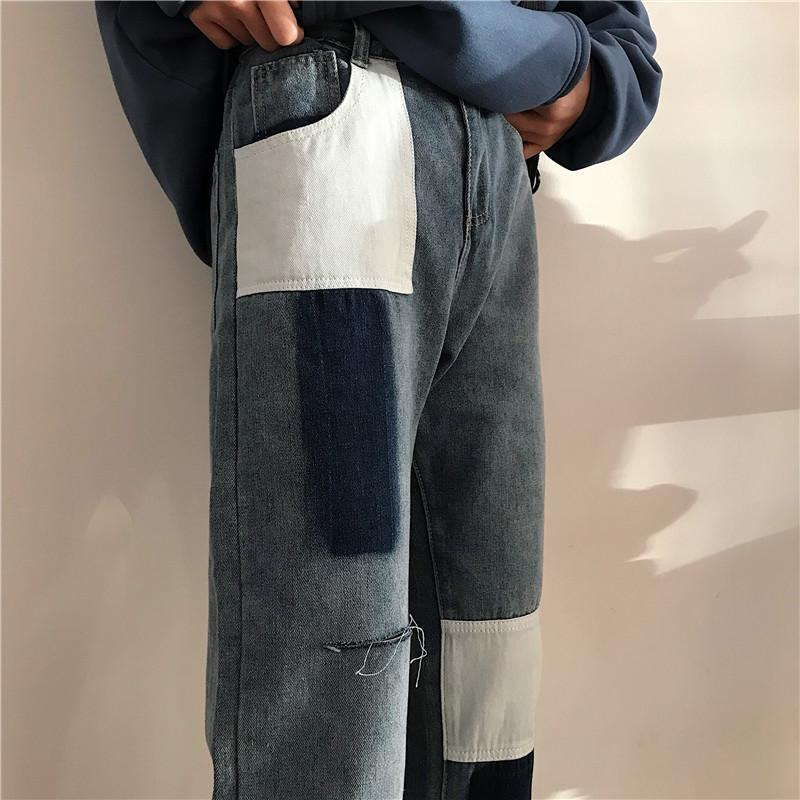 itGirl Shop GRUNGE BLUE PATCHES HIGH WAIST STRAIGHT DENIM JEANS