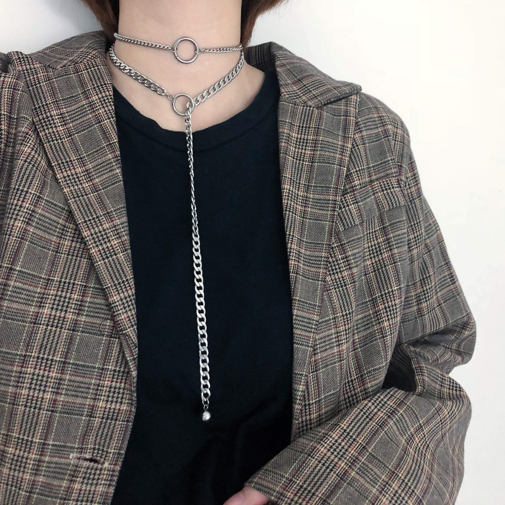 GRUNGE DOUBLE LAYER RING METALLIC CHAINS LONG NECKLACE