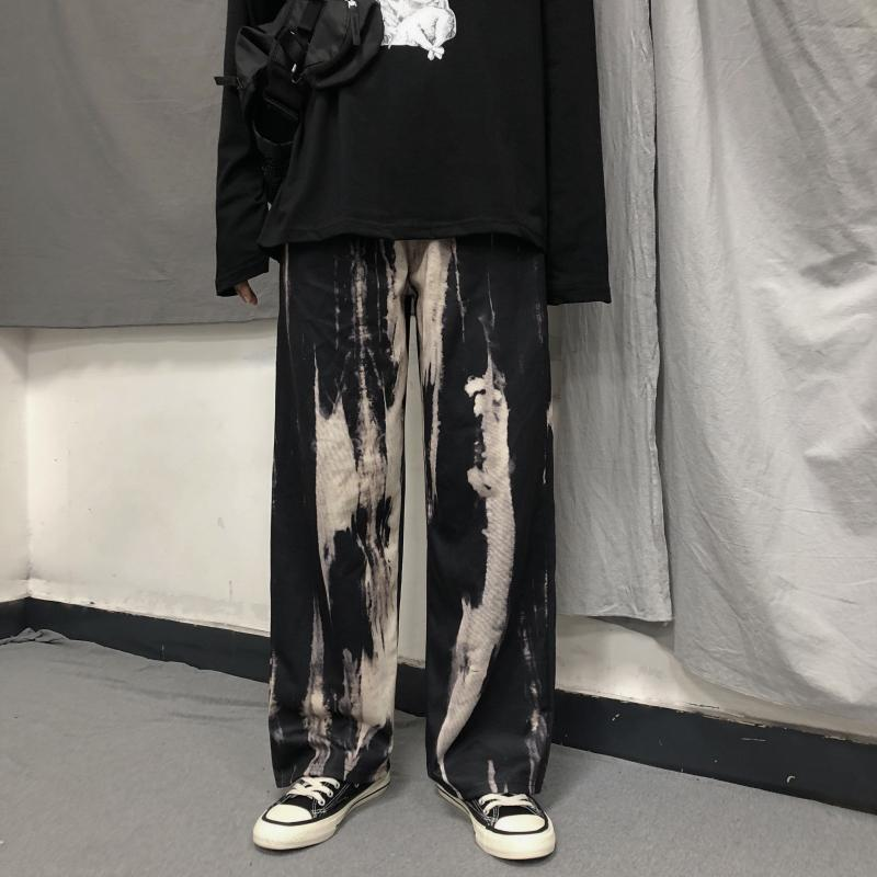 itGirl Shop GRUNGE TIE DYE PATTERN STRAIGHT OVERSIZED PANTS