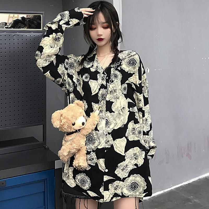 itGirl Shop GRUNGE TIE DYE PRINTED OVERSIZED LONG SLEEVE SHIRT