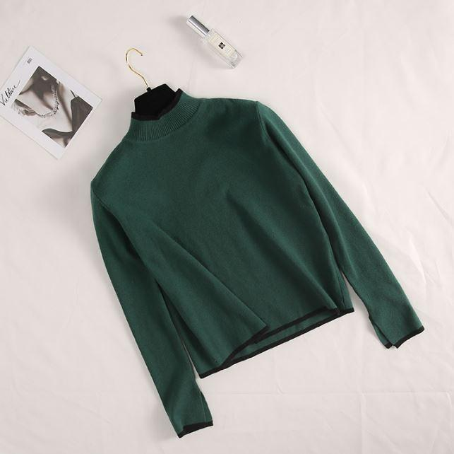 itGirl Shop HALF HIGH NECK SIDE CONTRAST COLOR SLIT KNITTED SWEATER
