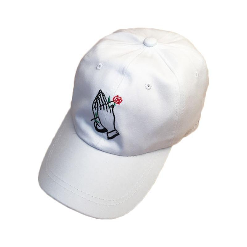 Buy Cheap Aesthetic Clothing HANDS HOLDING ROSE EMBROIDERY CAP Sale 30% OFF itGirl Shop itgirlclothing.com