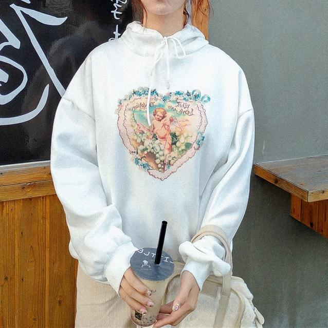 HEART ANGEL PRINT WHITE ULZZANG HOODED SWEATSHIRT